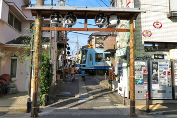 "A train and temporary ""Torii"" gate for the festival."
