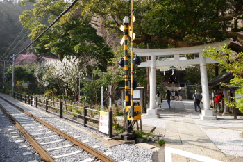 Railroad and precincts of Goryo Jinja Shrine.