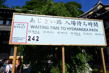 Signboard of numbered ticket for Hydrangea Path in Hasedera Temple.
