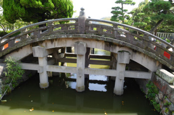Side-view of Taiko-bashi stone bridge in Tsurugaoka Hachimangu.