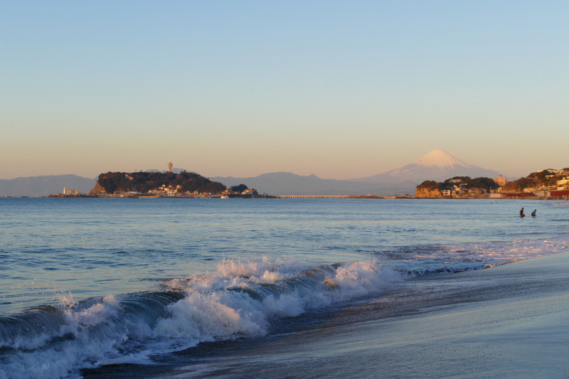 Fantasfic seascape from Shichirigahama together with Mount Fuji.