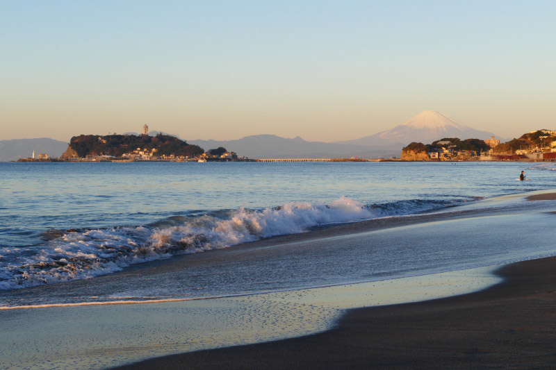 Ocean-view together with Enoshima and Mt.Fuji in Shichirigahama.