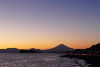 Illuminated Enoshima with Mount Fuji.