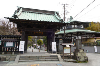 The main entrance gate of Myohonji Temple in Kamakura.