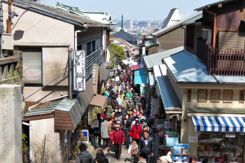 Full of tourists in Nakamise Street.