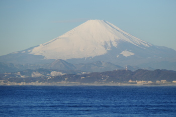 Close-up view of Mt.Fuji in Nishiura Coast.