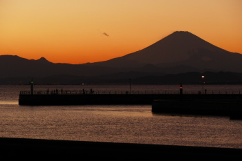 Mt.Fuji and port in late afternoon.