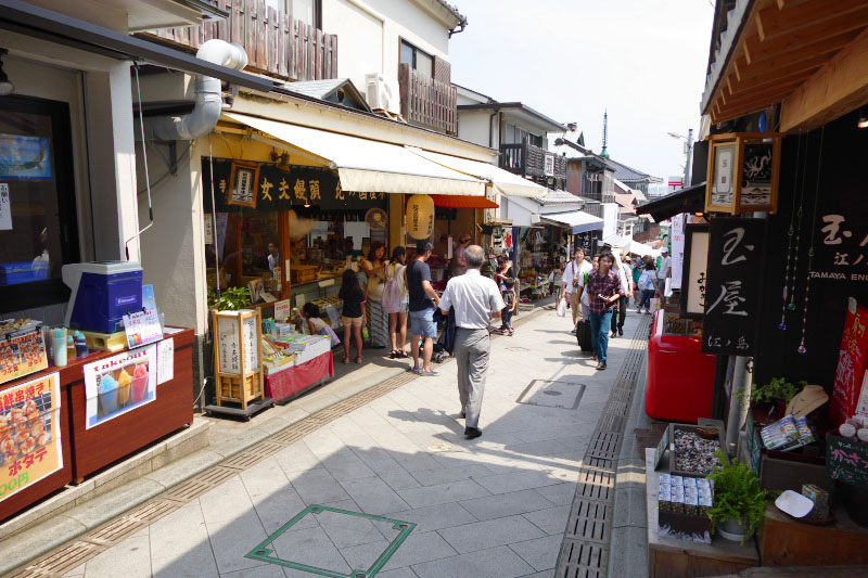 Shops and restaurants are lined both side of the Nakamise Street slope.