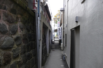 Passing small and narrow alley.