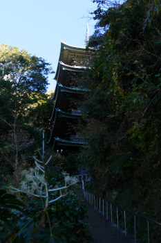 A five storied wooden tower in Ryukoji Temple.