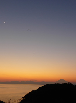 Mt.Fuji with sunset, moon and birds