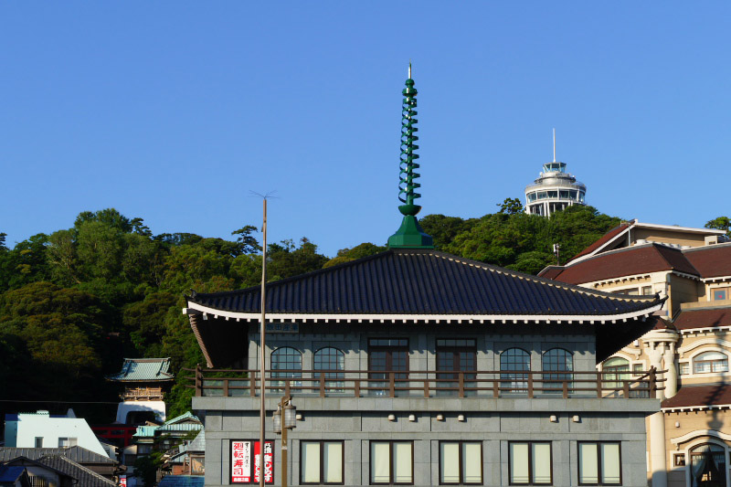 Blue sky and buildings of Enoshima.