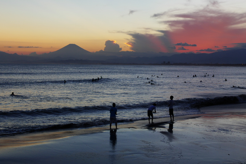 Sunset scenery in Katase Nishihama Beach with Mt.Fuji.