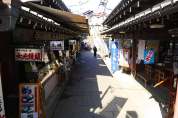 The shops in Yama-futatsu valley.